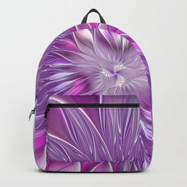 Pink Flower Passion, Abstract Fractal Art Backpack