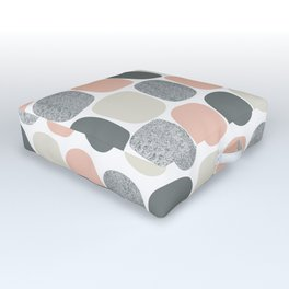 Wonky Ovals in Pink Outdoor Floor Cushion