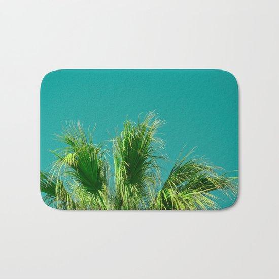 Palms on Turquoise Bath Mat