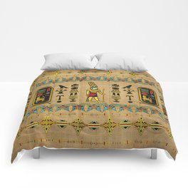 Egyptian Amun Ra - Amun Re Ornament on papyrus Comforters