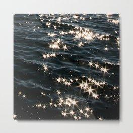 Deep Blue Ocean Wave Sparkles Universe Pattern Metal Print