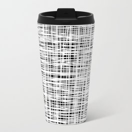 Hand drawn Lines Pattern-White on Black - Mix & Match with Simplicity of life Travel Mug