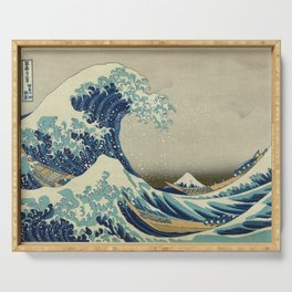 The Classic Japanese Great Wave off Kanagawa Print by Hokusai Serving Tray