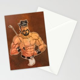 Be Good: Leather Muscular Man illustration Stationery Cards