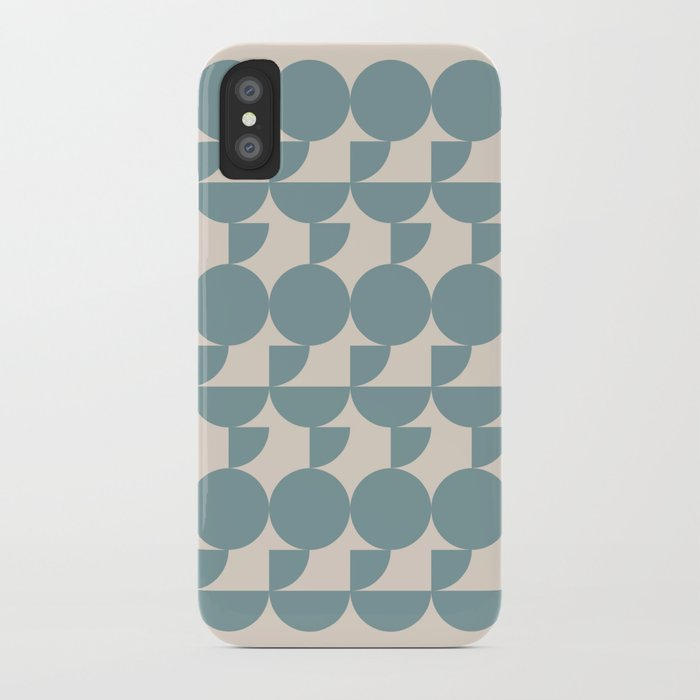 Mid Century Inspired Geometric Shapes in Soft Grey Blue iPhone Case