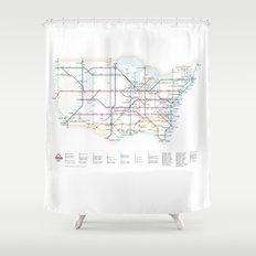 Interstate Highways as a Subway Map Shower Curtain
