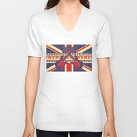 british V-neck T-shirts featuring British Rock by Ornaart