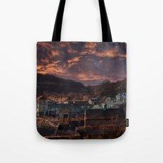 Doom Looms Around The Village Tote Bag