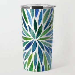 Watercolor Burst – Blue & Green Travel Mug