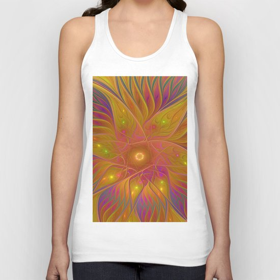 Colorful and Luminous Flower, Abstract Fractal Art Unisex Tank Top