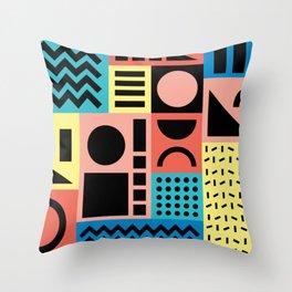Neo Memphis Pattern 1 - Abstract Geometric / 80s-90s Retro Throw Pillow