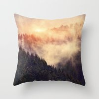 leaves Throw Pillows featuring In My Other World by Tordis Kayma
