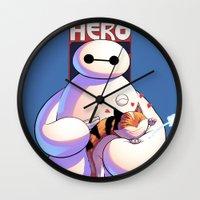 big hero 6 Wall Clocks featuring Baymax - Big Hero 6 by J Skipper