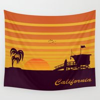 surfing Wall Tapestries featuring California surfing by mangulica illustrations