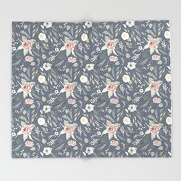 Vintage Blue Floral Pattern Throw Blanket