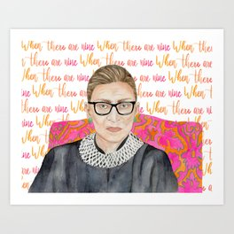 "Ruth Bader Ginsburg ""RBG"" Watercolor Art Print"