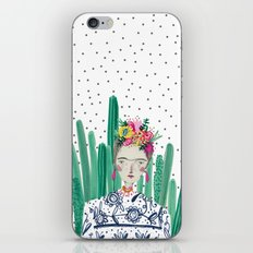 Frida Kahlo. Art, print, illustration, flowers, floral, character, design, famous, people, iPhone & iPod Skin
