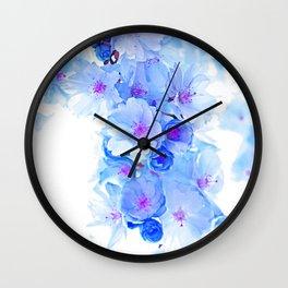 Cherry Blossom.Blue Wall Clock