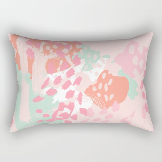 Billie - abstract gender neutral trendy painting soft colors bright happy nursery baby art Rectangular Pillow