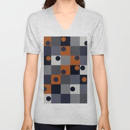 Navy & Rust Squares and Circles Unisex V-Neck