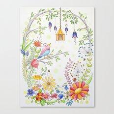 garden and bird Canvas Print
