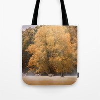battlefield Tote Bags featuring Morning on the Battlefield by Jai Johnson