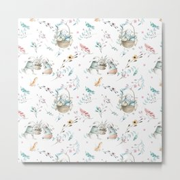 Bohemian feathers pink teal white easter bunny floral  Metal Print