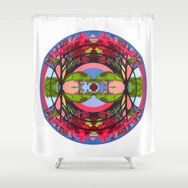 Flowers in the Sky Mandala Shower Curtain