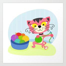 Cute kitten playing with yarn Art Print