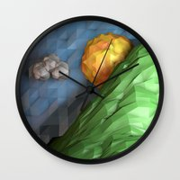 low poly Wall Clocks featuring Low Poly Sunset by cnrgrn