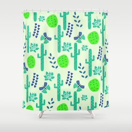 Cacti and butterflies Shower Curtain