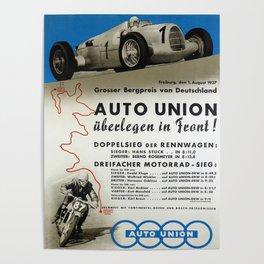 Vintage German Auto Union poster Poster
