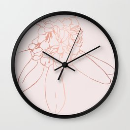 Rose gold blossom Wall Clock