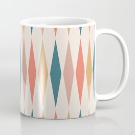 Mid Century Modern Geometric Triangle 221 Orange Teal Dusty Rose and Beige Coffee Mug