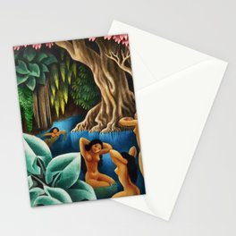 Bathing in the River by Miguel Covarrubias Stationery Cards