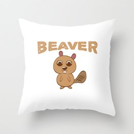 A Clean Beaver Always Gets More Wood Design Prepared For Digital Printing Against T-shirt Design Throw Pillow