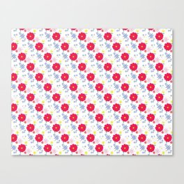 Zinnia Pattern Red and White Canvas Print