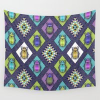 quilt Wall Tapestries featuring Scarabs Quilt by Vannina