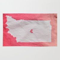 tote bag Area & Throw Rugs featuring Indianapolis Love Pink Ombre (Bag Art) by Aries Art