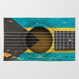 Old Vintage Acoustic Guitar with Bahamas Flag Rug
