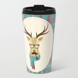 Rustic Christmas Reindeer Hipster Travel Mug