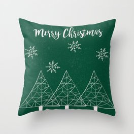 Merry Christmas Green Throw Pillow