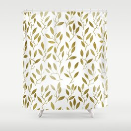 Leafy Twigs - Gold Shower Curtain