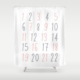 Numbers - Pink Shower Curtain