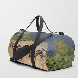 Horses Galloping Through Aspen Meadow Duffle Bag