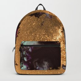 Abstract Pour Painting Liquid Marble Black Pastel Blue Painting Gold Accent Backpack