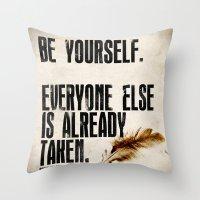 oscar wilde Throw Pillows featuring Oscar Wilde: Be Yourself by Danielle Denham