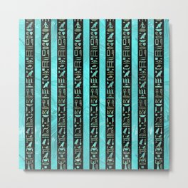Golden  Egyptian hieroglyphs on frosted glass Metal Print