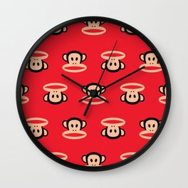 Julius Monkey Pattern by Paul Frank - Red Wall Clock