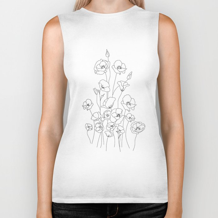 Poppy Flowers Line Art Biker Tank